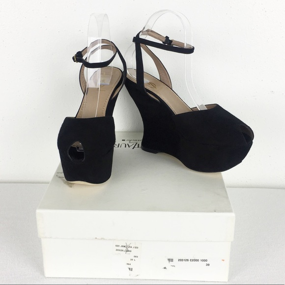 06a5ccb077 YSL Women's Size 39 Black Ankle Peep Toe Wedges